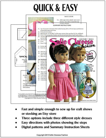 "Sofie's Nana Dress 18"" Doll Clothes Pattern"