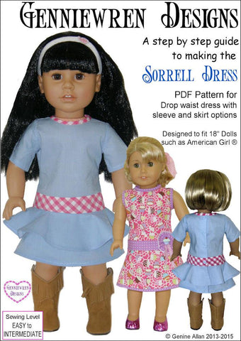"Sorrell Dress 18"" Doll Clothes Pattern"