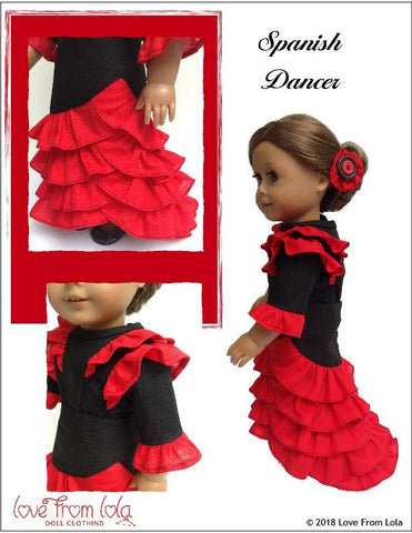 "Spanish Dancer 18"" Doll Clothes Pattern"