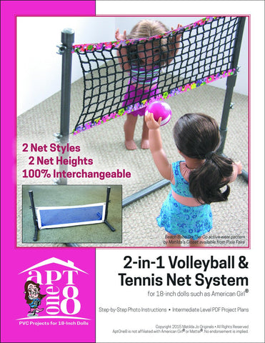 "AptOne8 18 Inch Modern 2-in-1 Volleyball & Tennis Net System 18"" PVC Pattern Pixie Faire"