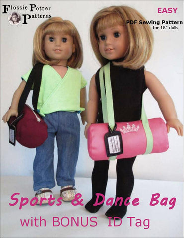 "Sports and Dance Bag With Bonus ID Tag 18"" Doll Accessories"