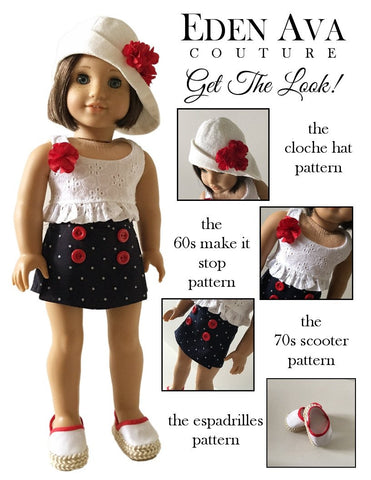 "Eden Ava 18 Inch Historical 1960's Make It Stop Beach Outfit 18"" Doll Clothes Pattern Pixie Faire"