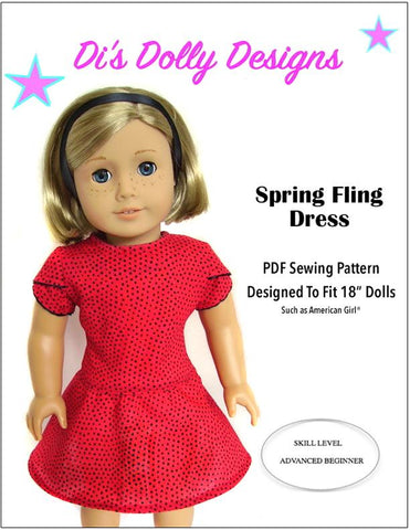 "Di's Dolly Designs 18 Inch Modern Spring Fling Dress 18"" Doll Clothes Pattern Pixie Faire"