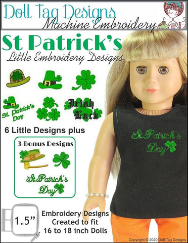 Doll Tag Clothing Machine Embroidery Design Saint Patrick's Little Machine Embroidery Designs Pixie Faire
