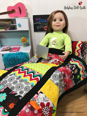 "Ladybug Doll Quilts Quilt Stacked Up 18"" Doll Quilt Pattern Pixie Faire"