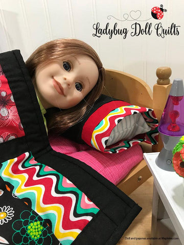 pdf doll quilting pattern Stacked Up Ladybug Doll Quilts designed to fit 18 inch American Girl dolls