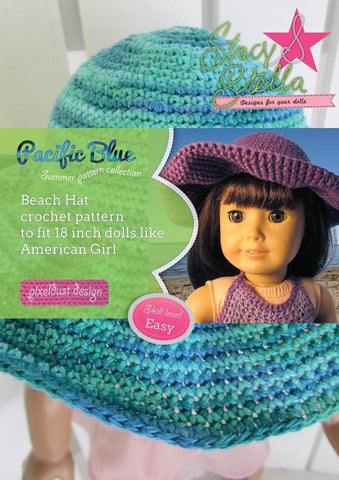"Stacy and Stella Crochet Beach Hat 18"" Doll Crochet Pattern Pixie Faire"