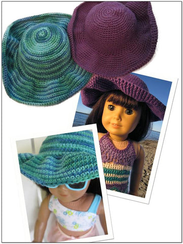 "Beach Hat 18"" Doll Crochet Pattern"