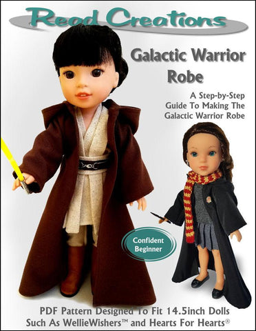"Read Creations WellieWishers Galactic Warrior Robe 14-14.5"" Doll Clothes Pattern Pixie Faire"
