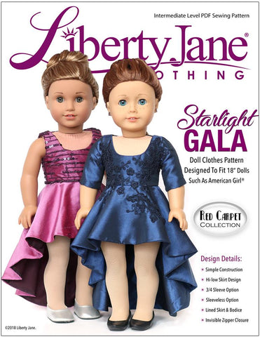 "Liberty Jane 18 Inch Modern Starlight Gala Dress 18"" Doll Clothes Pattern Pixie Faire"