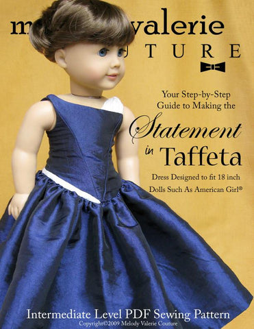 "Melody Valerie Couture 18 Inch Modern Statement in Taffeta dress 18"" Doll Clothes Pixie Faire"