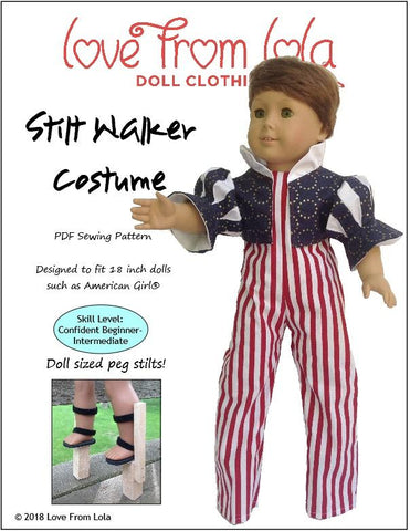 PDF doll clothes sewing pattern stilt walker circus costume designed to fit 18 inch American Girl dolls