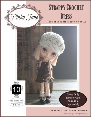 "Strappy Crochet Dress Pattern For 12"" Blythe Dolls"