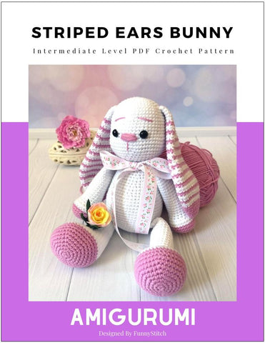 Striped Ears Bunny Amigurumi Crochet Pattern