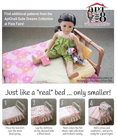 "Suite Dreams Collection: Basic Bedding Set 18"" Doll Accessory Pattern"