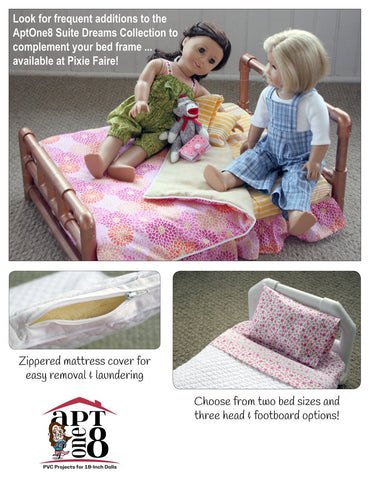 "AptOne8 18 Inch Modern Suite Dreams Collection: Build-A-Bed PVC Pattern for 18"" Dolls Pixie Faire"