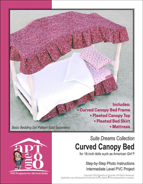 Aptone8 Curved Canopy Bed Pattern 18 Inch Dolls Such As