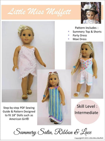 "Summery Satin, Ribbon & Lace 18"" Doll Clothes Pattern"