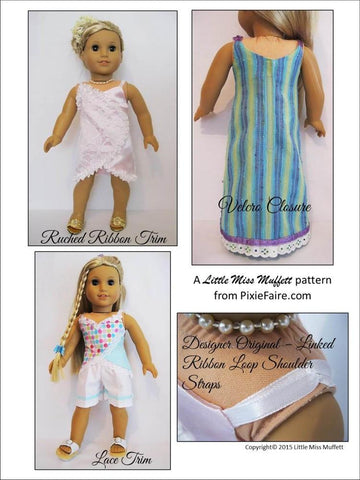 "Little Miss Muffett 18 Inch Modern Summery Satin, Ribbon & Lace 18"" Doll Clothes Pattern Pixie Faire"