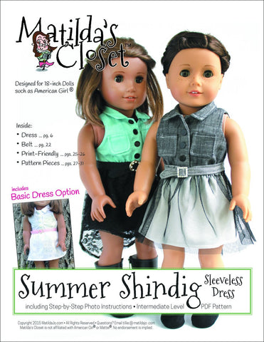 "Summer Shindig Sleeveless Dress 18"" Doll Clothes"