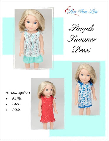 "Simple Summer Dress 14-14.5"" Doll Clothes Pattern"
