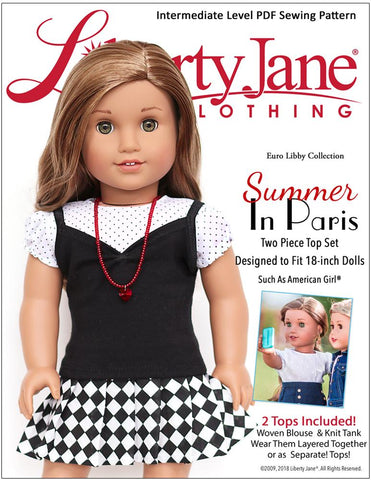 "Liberty Jane 18 Inch Modern Summer In Paris Tops 18"" Doll Clothes Pattern Pixie Faire"