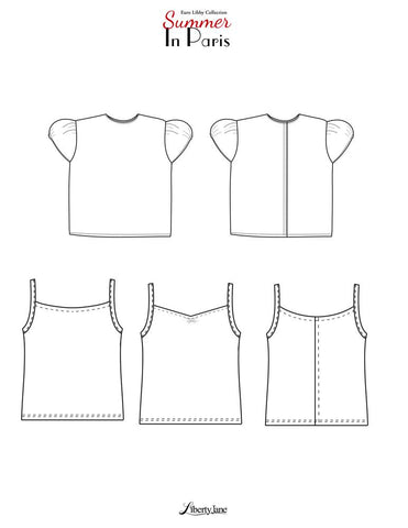 "Summer In Paris Tops 18"" Doll Clothes Pattern"