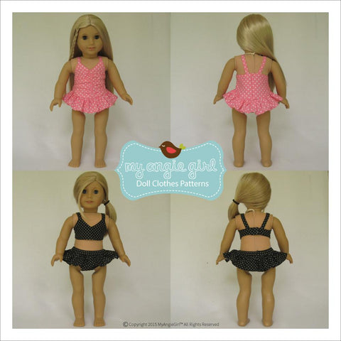 PDF doll clothes sewing pattern sun bathing cutie My Angie Girl swimsuit sun hat designed to fit 18 inch American Girl Dolls