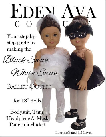 "Eden Ava 18 Inch Modern Black Swan White Swan 18"" Doll Clothes Pixie Faire"