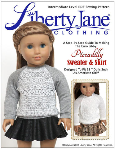 "Liberty Jane 18 Inch Modern Piccadilly Sweater and Skirt Bundle 18"" Doll Clothes Pattern Pixie Faire"