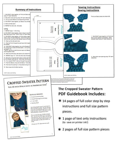"Cropped Sweater 18"" Doll Clothes Pattern"