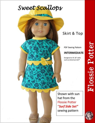 "Flossie Potter 18 Inch Modern Sweet Scallops Skirt & Top 18"" Doll Clothes Pattern Pixie Faire"