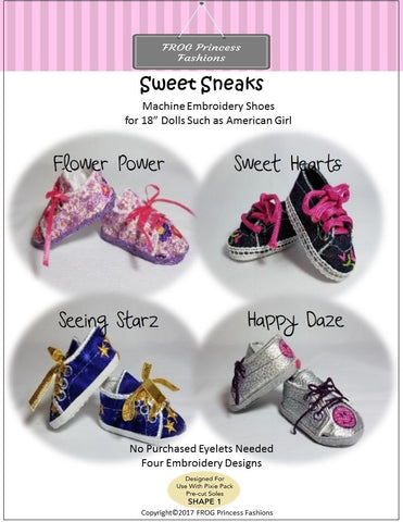 Sweet Sneaks Shoes Machine Embroidery Design
