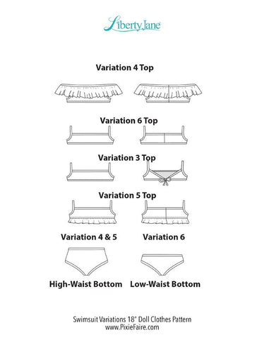 "Swimsuit Variations 18"" Doll Clothes Pattern"