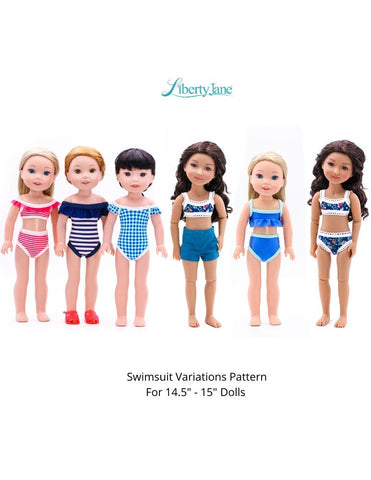 "Swimsuit Variations 14.5"" -15"" Doll Clothes Pattern"