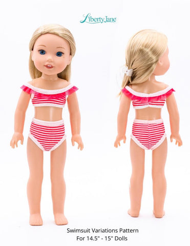 "Liberty Jane WellieWishers Swimsuit Variations 14.5"" -15"" Doll Clothes Pattern Pixie Faire"