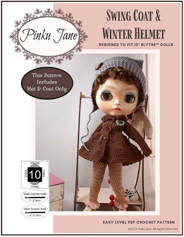 "Swing Coat & Winter Helmet Crochet Pattern For 12"" Blythe Dolls"