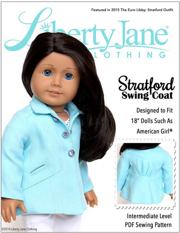 "Liberty Jane 18 Inch Modern Stratford Swing Coat 18"" Doll Clothes Pattern Pixie Faire"