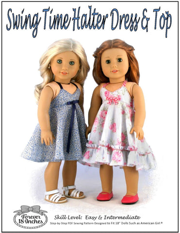 pdf doll clothes pattern Forever 18 inches Swing Time Halter Dress and Top designed to fit 18 inch American Girl dolls