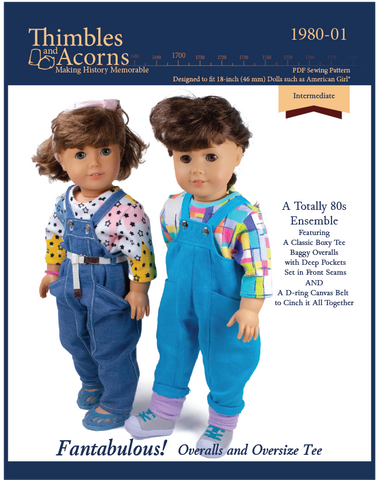 "Fantabulous! Overalls and Oversize Tee 18"" Doll Clothes Pattern"