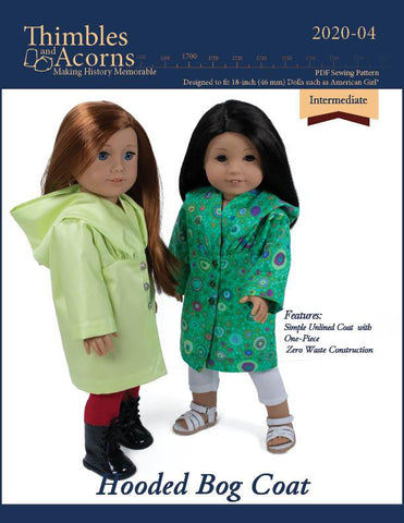 "Thimbles and Acorns 18 Inch Modern Hooded Bog Coat 18"" Doll Clothes Pattern Pixie Faire"