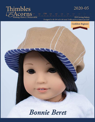 "Thimbles and Acorns 18 Inch Modern Bonnie Beret Doll Clothes Pattern For 18"" Dolls Pixie Faire"