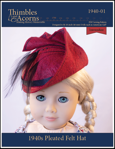 "1940s Pleated Felt Hat Doll Clothes Pattern For 18"" Dolls"