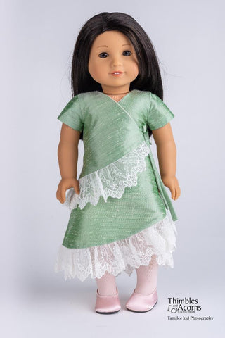 "The Silk Road Wrap Dress 18"" Doll Clothes Pattern"