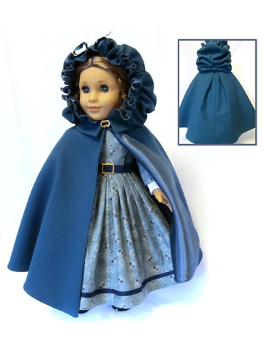 "Irish Kinsale Cloak 18"" Doll Clothes Pattern"
