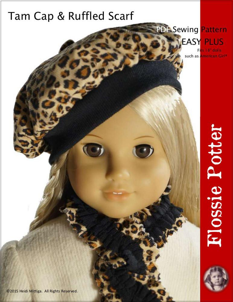 Flossie Potter Tam Hat Ruffled Scarf Doll Clothes Pattern 18 Inch