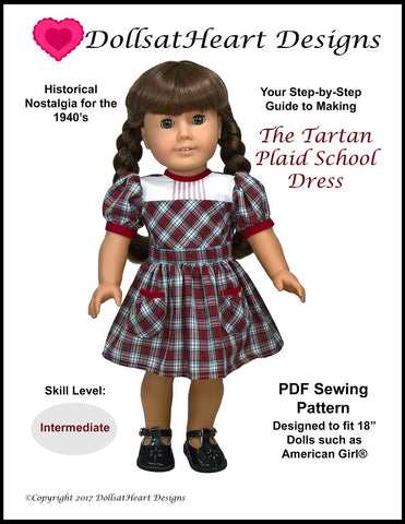 "Tartan Plaid School Dress 18"" Doll Clothes Pattern"