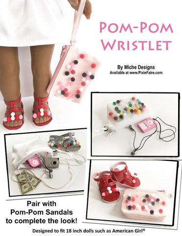 pdf sewing pattern Miche Designs Tassel & pom-pom wristlets designed to fit 18 inch American Girl dolls