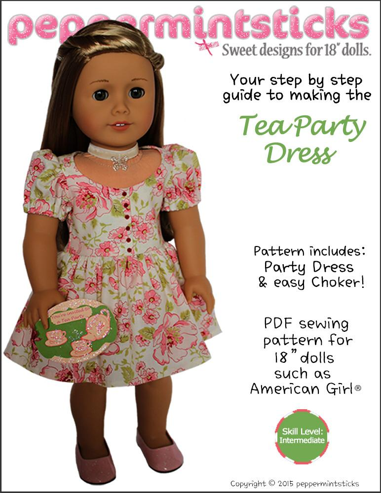 Peppermintsticks The Tea Party Dress Doll Clothes Pattern 18 inch ... 9c04406b1823