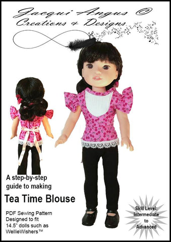 "Jacqui Angus Creations & Designs WellieWishers Tea Time Blouse 14.5"" Doll Clothes Pattern Pixie Faire"